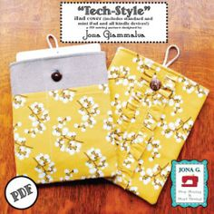Tech-Style iPad Kindle e-reader cover case PDF Pattern eBook 2 styles | YouCanMakeThis.com