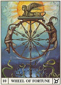 Wheel of Fortune, the Ansata Tarot - love the sphinx! Wheel Of Fortune Tarot, Tarot Major Arcana, Oracle Cards, Sacred Art, Tarot Decks, Archetypes, Vladimir Kush, Occult, Magick