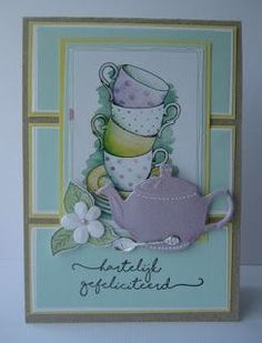 Handmade card by DT member Boukje with Creatables Tea for You (LR0462) from Marianne Design