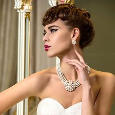Luxurious Alloy With Rhinestone&Pearl Wedding Bridal Necklace Earrings Jewelry Set – USD $ 29.99