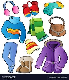 Illustration about Winter apparel collection 1 - vector illustration. Illustration of handbag, headband, drawing - 21565513 Winter Outfits, Kids Outfits, Winter Clothes, Preschool Colors, Winter Activities For Kids, Winter Gear, Kindergarten Activities, Pre School, Paper Dolls