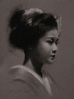 "Phil Couture: Art Daily-""Maiko Satohana""=Charcoal on toned paper"