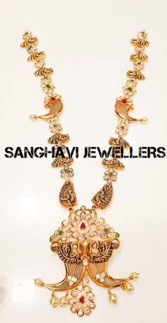 #gold #haram with #traditional #pulligoru #peacock #southindian #jewellery #designs #pachi  #SANGHAVIJEWELLERS