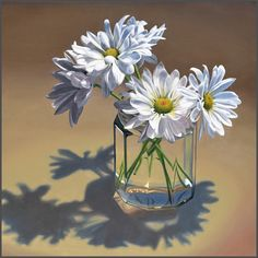 White Daisies In Jar, oil on canvas, 30 x 30 x .75 inches