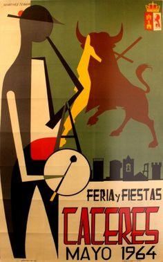 Caceres Spain, 1964 - original vintage poster by Martinez Terron listed on AntikBar.co.uk