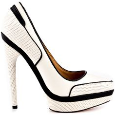 You'll be a fan of this L.A.M.B. pump. The Ohio features a black and white glossy upper with sporty perforations. A 5 inch stiletto heel and 1 inch platform completes these flawless beauty.