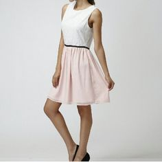 SPRING FLASH SALE Moon Collection Eyelet Dress New Moon Collection Pink & White Split Dress.  Eyelet Embroidered Upper Bodice. Flowy Pink Skirt.  Black Ribbon Trim.  Photos Courtesy of Moon Collection. Moon Collection Dresses