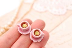 Miniature teacup studs, pink teacup earrings, Alice in Wonderland jewellery, miniature food jewelry.