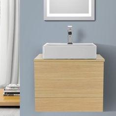 Bathroom Vanity 24 Inch Natural Oak Vessel Sink Bathroom Vanity, Wall Mounted Iotti TN12