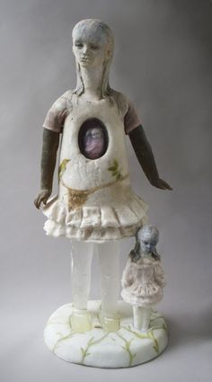 """Nest"" by Christina Bothwell, cast glass, cast rubber, raku clay, oil paints, vintage material, 30 x 14 x 11"