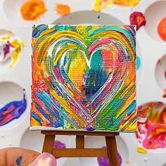 Painting For Kids, Diy Painting, Kids Paintings On Canvas, Kids Canvas Art, Pumpkin Painting, Heart Painting, Finger Painting, Painting Videos, Colorful Paintings