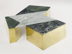 Brian Thoreen Green Mixed Marble and Brass Coffee Table 2