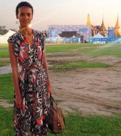 Liya Kebede wearing a dress from Tory Burch Resort 16
