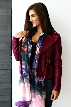 Casual Pieces We Are Loving RIGHT NOW // Classic Style // Biker Babe // Ted Baker Caryane Leather Jacket // Ted Baker Floral Scarf // Give Me Liberté // Liberté