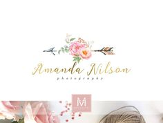 Arrow Floral Logo ,Romantic Logo, Watercolor Logo, Peonies Logo, Photography Logo, Boutique Logo ,Shabby Chic Logo, Watermark,Feather Logo