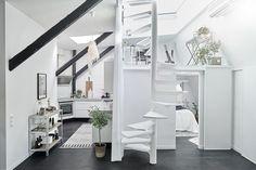 ไอเดียแต่งอพาร์ทเม้นท์ Original Scandinavian Loft with Skylights and Wood Burning Fireplace | FineInside