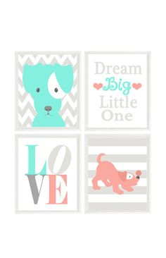 Puppy Nursery Art, Dog Wall Art, Dream Big Little One, Love Print, Stripes, Chevron, Baby Girl, Baby Gift, Coral Aqua Gray Decor, Baby Boy  Set 4 Prints (Frames not included)  You can customize print to your own color choices or use above color selection. Make them all the same color or all different. Color choices are show above for the background and the object in print. How To Customize: *********************  When checking out, please leave me a message in the Note To Seller section…