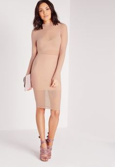 Long Sleeve Mesh Midi Dress Nude