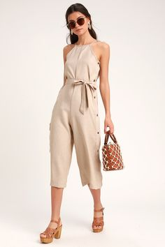 7fd09d6a2b2 Lulus Exclusive! Let your style shine on a sunny day in the Lulus Blume  Taupe · Summer Day OutfitsCulotte PantsSpaghetti Strap ...
