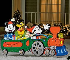 christmas wood yard art jcpenney mickey yard train 1869 shipped down from 4999 christmaslightsyard - Mickey Mouse Outdoor Christmas Decorations