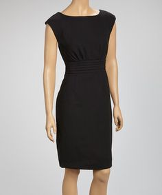 Look at this #zulilyfind! Black Pleated Cap-Sleeve Dress by Joy Mark #zulilyfinds
