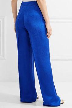 Max Mara - Vortice Hammered Silk-satin Wide-leg Pants - Bright blue - UK10