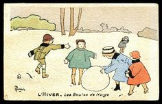1920s Artist Signed French Postcard: Children in Winter from lajoliechose on Ruby Lane