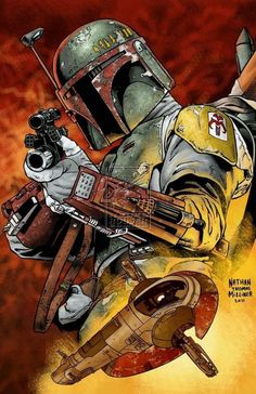 Star Wars: Boba Fett by Nathan Thomas Miliner Boba Fett Art, Boba Fett Mandalorian, Jango Fett, Star Wars Boba Fett, Boba Fett Tattoo, Star Wars Fan Art, Star Trek, Star Wars Pictures, Star Wars Images