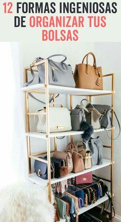 Apartment closet diy organization ideas Ideas for 2019 Handbag Display, Handbag Storage, Handbag Organization, Office Organization, Organizing Ideas, Handbag Organizer, Makeup Organization, Organizing Life, Diy Purse Storage Ideas
