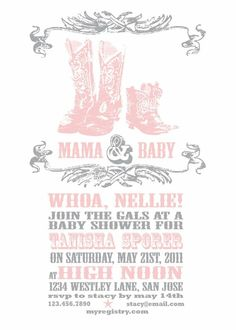 Country baby shower invite! Can get in pink or blue!