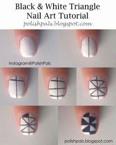 Black & White Triangle Nail Art Tutorial by Polish Pals