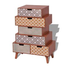 Vintage Side Cabinet Retro Style Furniture 6 Drawers Storage Unit Wooden Legs