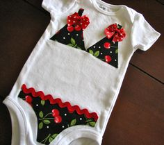 Cherries Polka Dot Bikini Onesie by EllaBeeBoutique on Etsy, $21.00