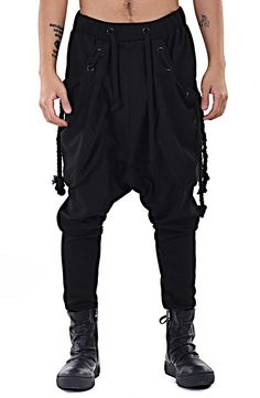 Dark Black Men's Loose Casual Drop Crotch Harem Pants / Casual Black Pants Harem Casual Jersey Jogging
