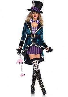 Delightful Hatter Leg Avenue Damen-Kostüm - Verrückter Hutmacher Alice im Wunderland, Größe:S #halloween #gadget