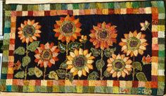 Traditional Hooked Rug  Sunflower Pattern 53 by WooleyMtnRugWorks, $1100.00