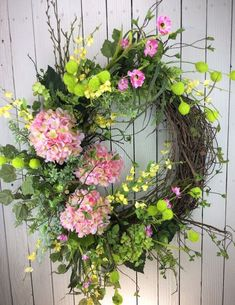 Delux sping wreath Large spring wreath Front door wreath Spring Front Door Wreaths, Wreaths For Front Door, Mesh Wreaths, Spring Wreaths, Hydrangea Wreath, Pink Hydrangea, Floral Wreath, Wreath Crafts, Diy Wreath