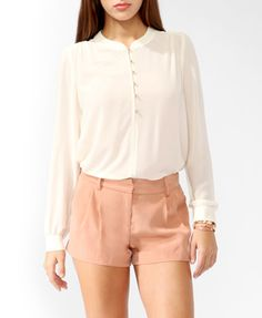 Buttoned Semi-Sheer Top, Cream @ Forever 21 $19.80