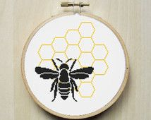 Bee Honeycomb Modern Counted Cross Stitch Pattern Instant Download PDF