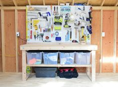 shed storage ideas tool workbench with pegboards.other good stuff at the link. Storage Shed Kits, Shed Organization, Tool Storage, Storage Spaces, Locker Storage, Storage Ideas, Garage Storage, Diy Storage, Storage Shelves