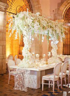 Floral Arch Over Reception Table   Brides.com