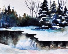 ORIGINAL Watercolor Painting, Postcard Size Art, Winter Lake, Small Format Art, Winter Illustration 4x6 inch