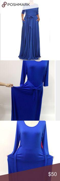 "Emerald Blue Long Maxi 30% off Bundles! Plus Size Ties around the waist Floor Length  Measurements: X-Large: Bust: 37"" Waist: 36"" Hip: 50"" Length: 57"" XXL: Bust: 39"" Waist: 37"" Hip: 51"" Length: 58"" XXXL: Bust: 42"" Waist: 40 Hip: 51"" Length: 59""  Solid color  O-neckline Loose fitting Dresses Long Sleeve"