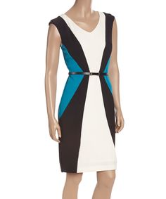 Look at this #zulilyfind! Sandra Darren Evening White & Teal Color Block Belted Sheath Dress by Sandra Darren #zulilyfinds