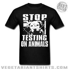 """Stop Testing On Animals""  Animal Rights Activist T-Shirt ( #Vegetarian #Vegan )"