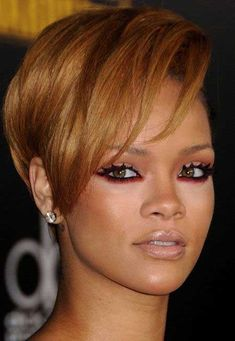 Glamorous and Eye-catching Copper Blonde Pixie Lower with Cool Alluring Bangs