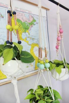 Colorful Copper Pipe Hanging Planter