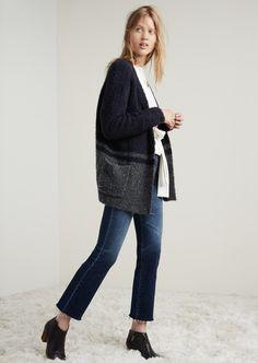 "madewell bouclé cardigan sweater worn with the tie-waist sweatshirt, 11"" high riser crop flares + the billie boot. #denimmadewell"