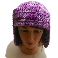 Purple Aviator Beanie Ombre EarFlap Hat Purple by AddSomeStitches