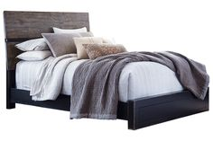 I LOVE this collection! Emerfield is farmhouse style meets modern industrial hip—a clean lined and simply chic look every bit as at home in a country cottage as a city loft. Made of veneers, wood and manmade wood. Two-tone finish pairs a rubbed black with a rustic wood tone for gently weatherworn appeal. Bed is offered in two styles: a two-tone platform bed and a rustic wood tone sleigh bed with wide-plank headboard and footboard.